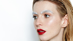 bold makeup editorial shoot makeup studio red lip brown trend white paint fashion